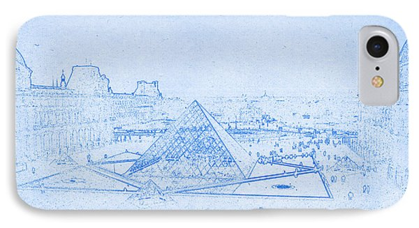 Louvre And Paris Skyline  - Blueprint Drawing IPhone Case by MotionAge Designs