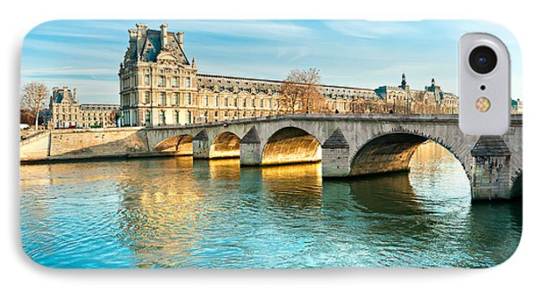 Louvre Museum And Pont Royal - Paris  IPhone Case by Luciano Mortula