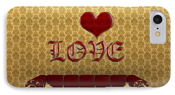 Love And Deep Red Sofa In A Gold Victorian Room IPhone Case by Beverly Claire Kaiya
