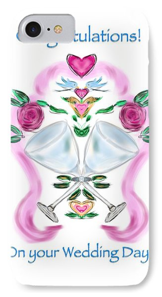 IPhone Case featuring the digital art Love Birds White Wedding by Christine Fournier