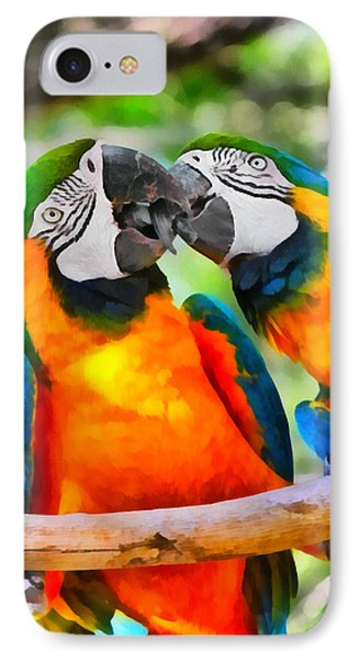 Love Bites - Parrots In Silver Springs IPhone Case by Christine Till