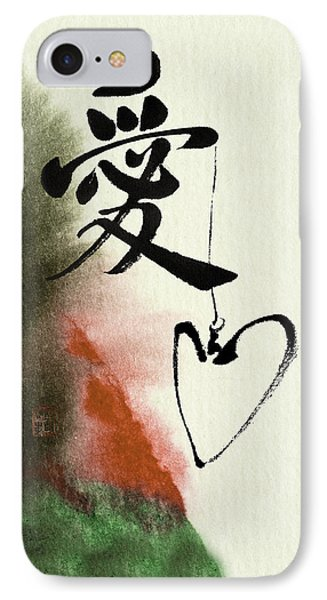 Love Brush Calligraphy With Heart IPhone Case by Peter v Quenter