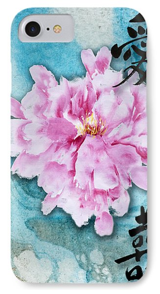 IPhone Case featuring the mixed media Love Double Happiness With Red Peony by Peter v Quenter