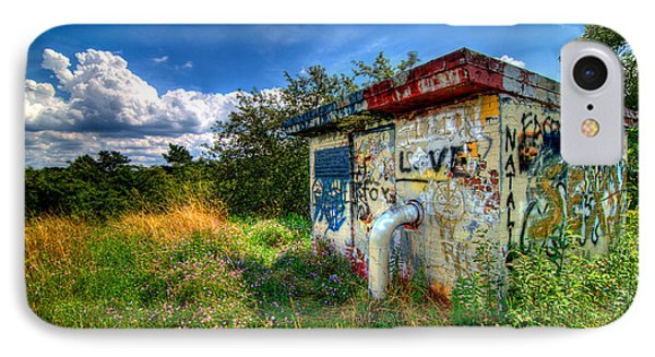 Love Graffiti Covered Building In Field Phone Case by Amy Cicconi