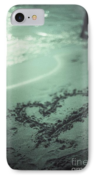 Love Heart Drawn On Beach Sand At Low Tide With Ocean Sea Phone Case by Edward Olive