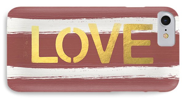 Love In Gold And Marsala IPhone Case by Linda Woods