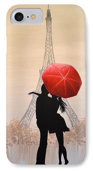 IPhone Case featuring the painting Love In Paris by Amy Giacomelli