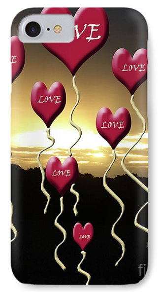 Love Is In The Air Golden Silhouette IPhone Case by Cathy  Beharriell