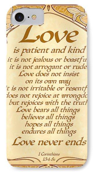 Love Is Patient - Gold Art Nouveau Style IPhone Case
