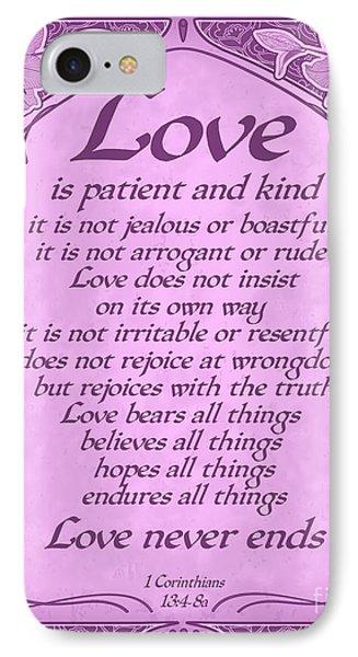 Love Is Patient - Radiant Orchid Art Nouveau Style IPhone Case