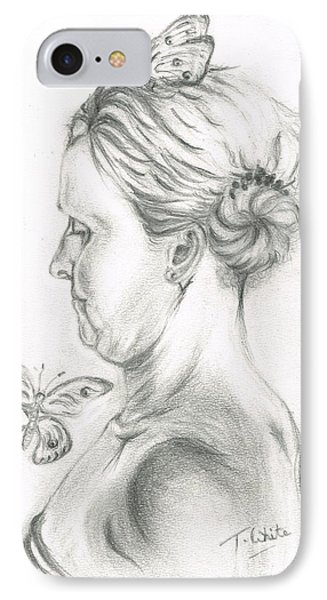 IPhone Case featuring the drawing Loves- Her Butterflies by Teresa White