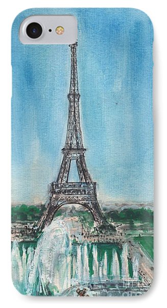 IPhone Case featuring the painting Love Of The Eiffel by Mary Armstrong