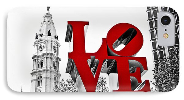 Love Park And City Hall Bw IPhone Case