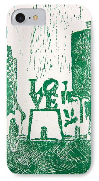 Love Park In Green IPhone Case by Marita McVeigh