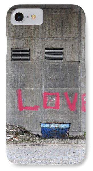 Love - Pink Painting On Grey Wall Phone Case by Matthias Hauser