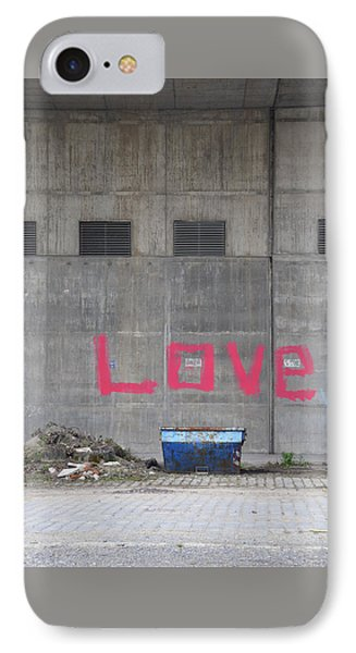 Love - Pink Painting On Grey Wall IPhone Case by Matthias Hauser