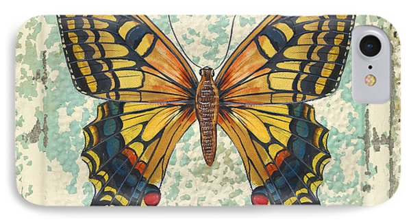 Lovely Yellow Butterfly On Tin Tile IPhone Case by Jean Plout