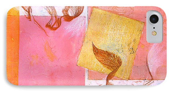 IPhone Case featuring the painting Lovers Dance 2 In Sienna And Pink  by Asha Carolyn Young