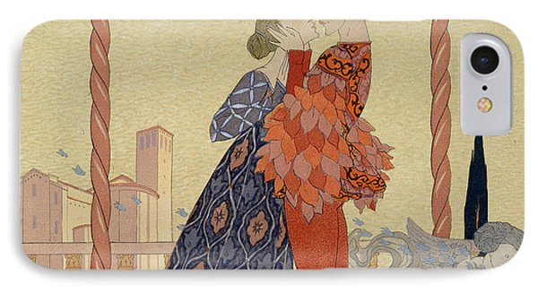 Lovers On A Balcony  Phone Case by Georges Barbier