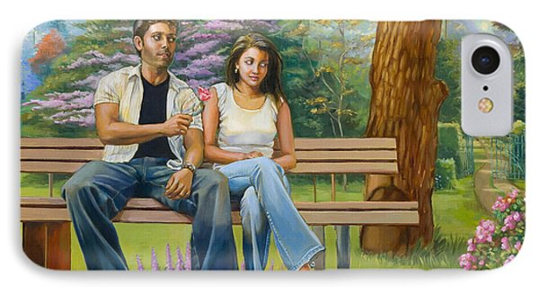 Lovers On A Bench Phone Case by Dominique Amendola