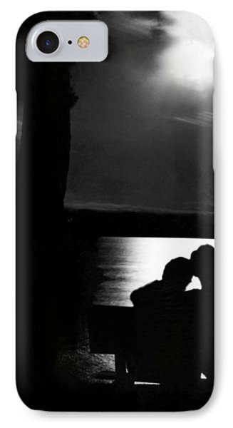 Lovers Sitting Moonlight IPhone Case by Underwood Archives