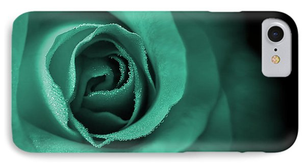 Love's Eternal Teal Green Rose Phone Case by Jennie Marie Schell