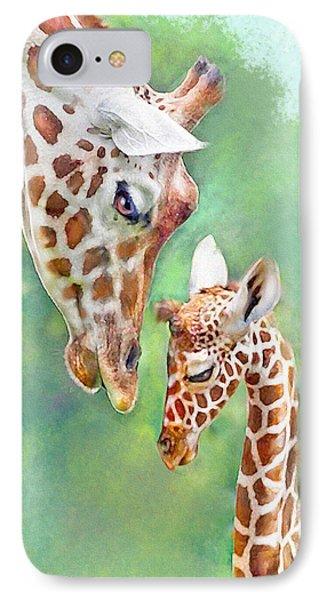 IPhone Case featuring the digital art Loving Mother Giraffe2 by Jane Schnetlage