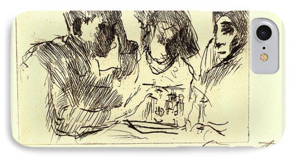 Lovis Corinth, Chess Players Schachspiel IPhone Case by Litz Collection