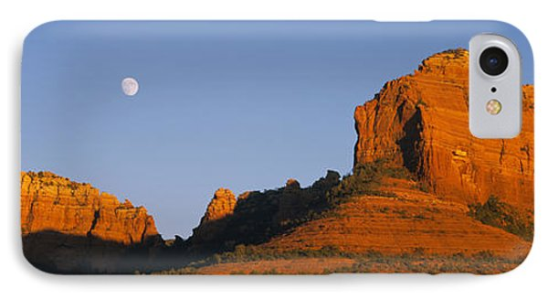 Low Angle View Of Moon Over Red Rocks IPhone Case by Panoramic Images