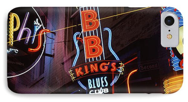 Low Angle View Of Neon Signs Lit IPhone Case by Panoramic Images