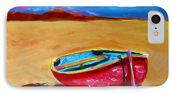 Low Tides - Landscape Of A Red Boat On The Beach Phone Case by Patricia Awapara