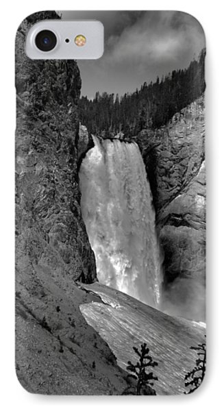Lower Falls In Yellowstone In Black And White Phone Case by Dan Sproul