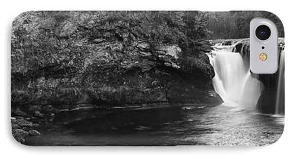 Lower Lewis River Waterfall Panorama - Black And White IPhone Case