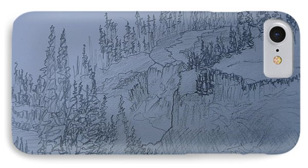 IPhone Case featuring the drawing Lower Mesa Falls by Joel Deutsch