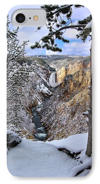 Lower Yellowstone Falls In October Phone Case by Robert Woodward
