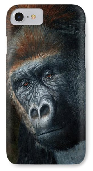 Lowland Gorilla Painting IPhone Case by David Stribbling
