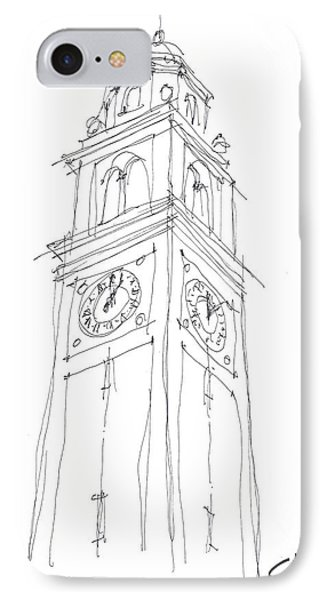 IPhone Case featuring the drawing Lsu Bell Tower Study by Calvin Durham