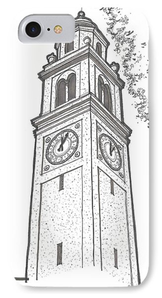 IPhone Case featuring the drawing Lsu Memorial Bell Tower by Calvin Durham