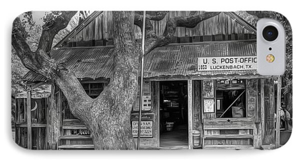 Luckenbach 2 Black And White IPhone Case by Scott Norris