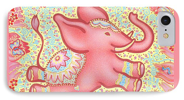 Lucky Elephant Pink IPhone Case