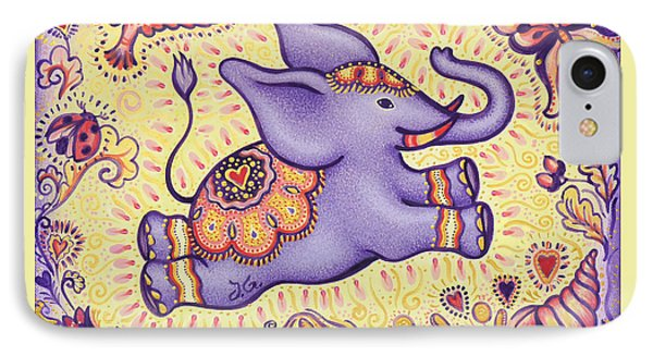 Lucky Elephant Purple Phone Case by Judith Grzimek