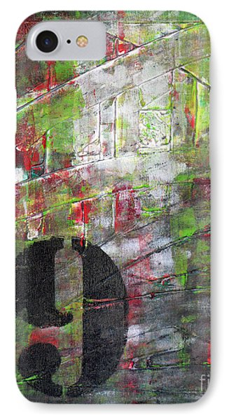Lucky Number 9 Green Red Grey Black Abstract By Chakramoon Phone Case by Belinda Capol