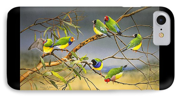 Lucky Seven - Gouldian Finches IPhone Case by Frances McMahon