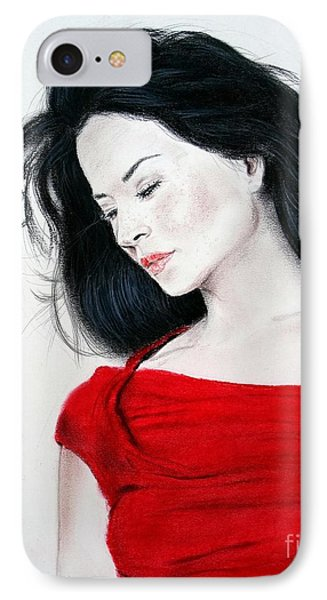Lucy Liu The Lady In Red Phone Case by Jim Fitzpatrick