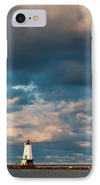Ludington North Breakwater Lighthouse At Sunrise IPhone Case by Sebastian Musial