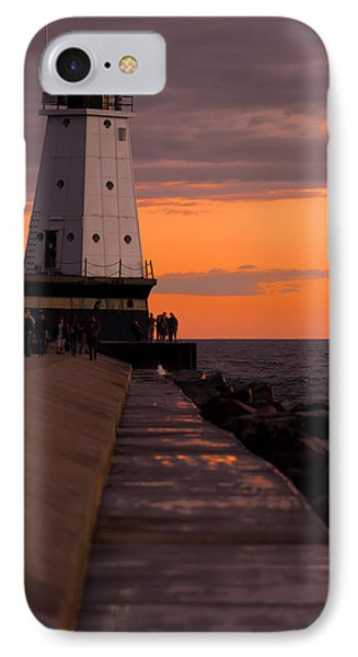 Ludington Pier And Lighthouse IPhone Case by Sebastian Musial