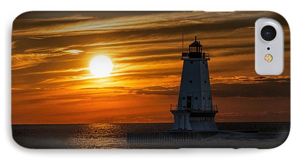 Ludington Pier Lighthead At Sunset IPhone Case by Randall Nyhof