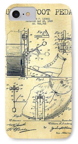 Folk Art iPhone 7 Case - Ludwig Foot Pedal Patent Drawing From 1909 - Vintage by Aged Pixel