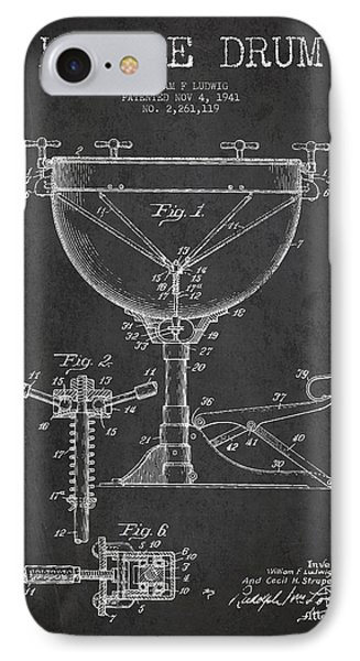 Drum iPhone 7 Case - Ludwig Kettle Drum Drum Patent Drawing From 1941 - Dark by Aged Pixel