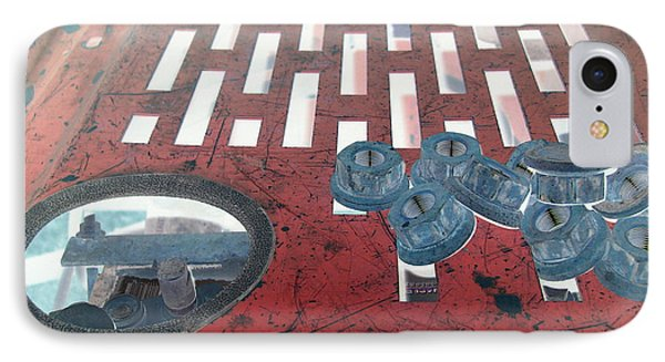 Lug Nuts On Grate And Circle H Phone Case by Heather Kirk